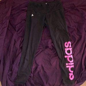 Adidas black leggings with pink logo